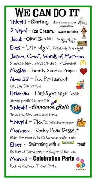Book of Mormon reading chart Super cute! Maybe this will motivate the kids to show some initiative so, execution doesn't ALWAYS rely solely on me :)