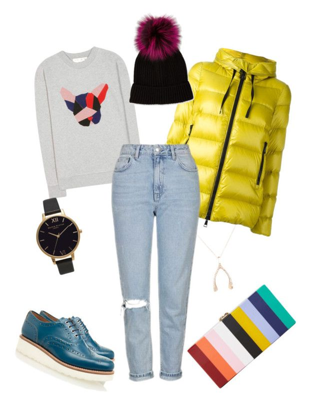 """""""Winter Day #234"""" by jennykenny-1 on Polyvore featuring Milly, Être Cécile, Olivia Burton, Jennifer Meyer Jewelry, Moncler, Topshop, Grenson and Neiman Marcus"""