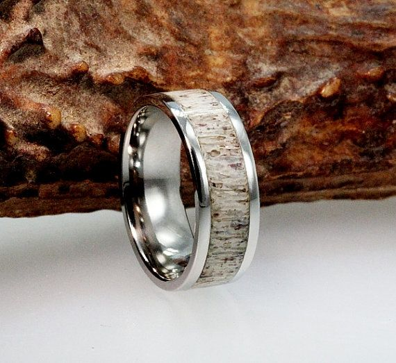 Titanium Ring with a Deer Antler Inlay by jewelrybyjohan on Etsy, $249.00