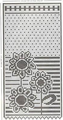 Gráfico Cortina girassol fácil em crochê