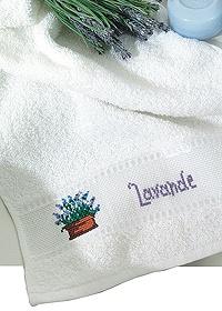 Lavender cross stitch towel