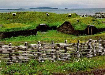 Viking Settlement at L'Anse aux Meadows reconstruction - Leif Eriksson, a Viking chieftain from Greenland, set sail for the New World 5 centuries before Columbus. His exploits are recorded in two Icelandic sagas, the Saga of Eric the Red and the Saga of the Greenlanders. The Vinland settlement is almost certainly the L'Anse aux Meadows site, which dates to between 989 and 1020 AD and consisted of 3 Viking halls, as well as an assortment of huts for weaving, ironworking, and ship repair.