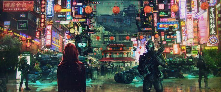 General 3440x1440 science fiction cyberpunk cityscape