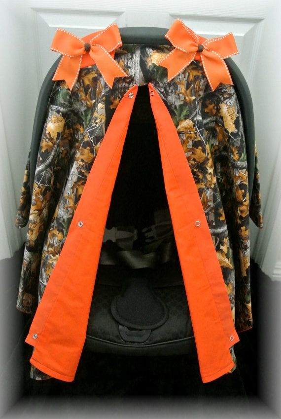carseat canopy, car seat cover, camouflage, realtree, orange, camo, polka dot, bow, baby car seat, infant girl, baby girl, chevron, baby boy on Etsy, $39.99