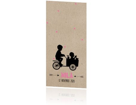 Vintage geboortekaartje kraftachtergrond en silhouet van broertje met baby in bakfietsje. Superleuk kaartje!