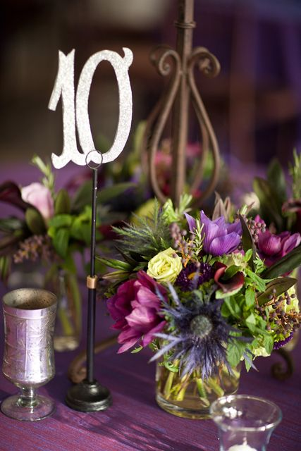 Wedding Centerpieces | Fall Wedding Centerpiece | Table Number Ideas |  Photo: William Walker Photography