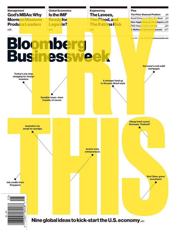 Bloomberg Businessweek, via graphic design layout, identity systems and great type lock-ups. #magazine #cover #graphicdesign #bloomberg
