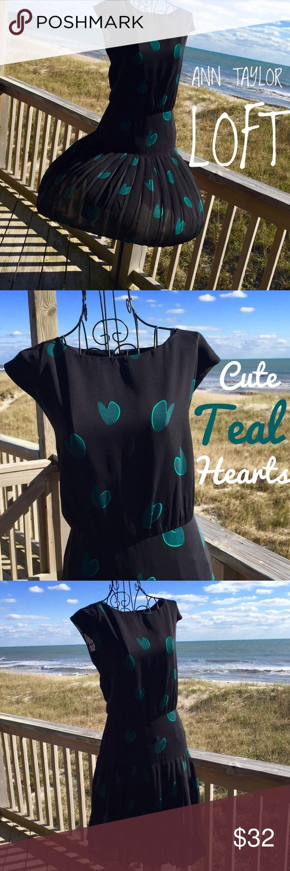 ANN TAYLOR LOFT  dress. Great Ink Black Dress with Teal hearts. Capped sleeves, drop waist, pleated sassy skirt. As you can see how beautifully the wind catches this gorgeous dress. Ann Taylor Dresses