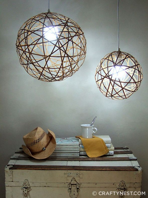 Diy your own gorgeous orb pendant lights these bamboo orb pendant lights were inspired by the cassiopeia chandelier on the cover of house beautiful
