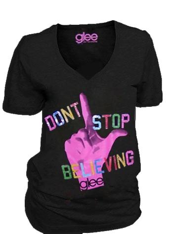 Glee TV Show Don't Stop Believing Journey Black V-Neck Juniors T-shirt