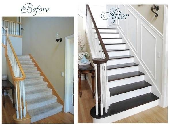 Staircase makeover: Staircases Wall, Stairca Remodel, Hardwood Stairca, Paintings Stairs, Staircases Makeovers, Dark Hardwood Stairs, Stairs Wall Ideas, Carpets Stairca Ideas, Floating Stairca Ideas