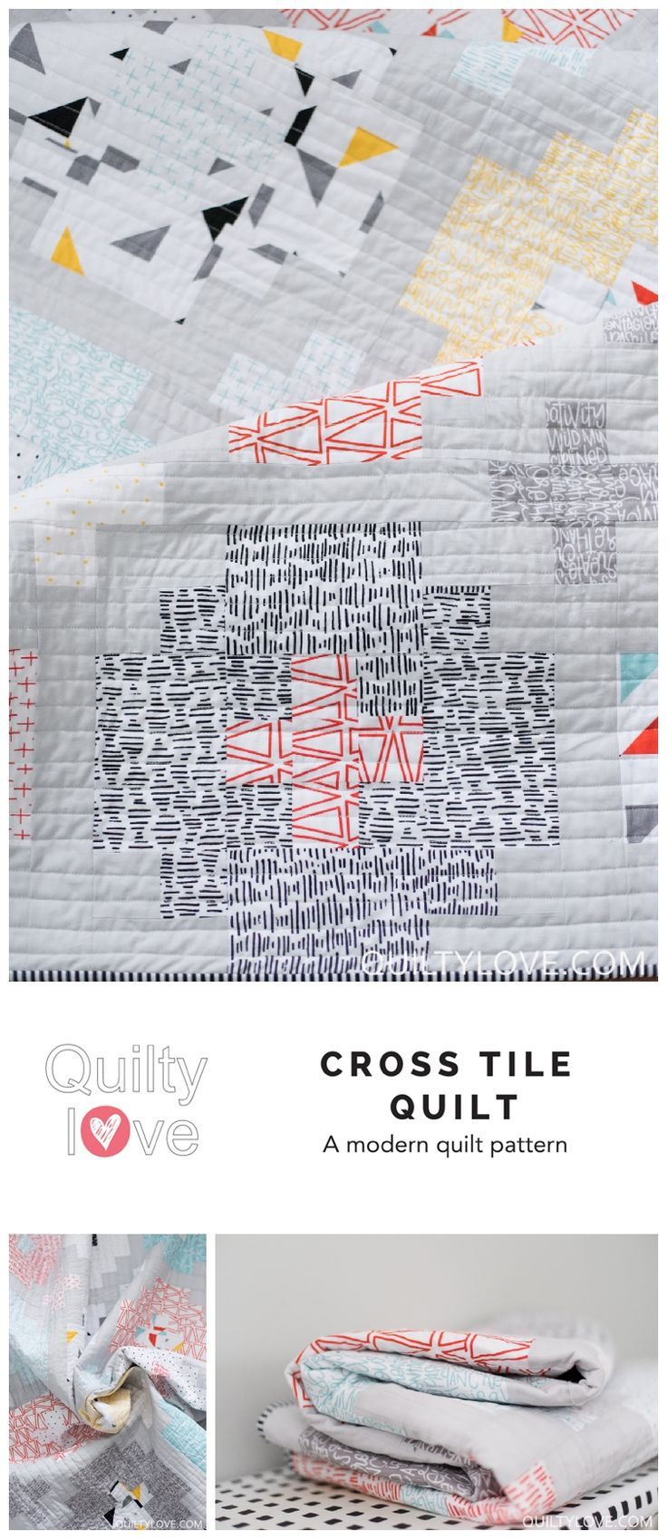 Cross Tile quilt pattern by Emily of quiltylove.com.  Modern fat quarter friendly quilt.  Baby, Throw and queen quilt sizes.