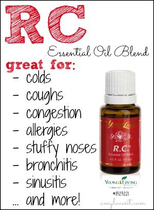 RC! Our go to blend for respiratory woes! Feel free to use my sponsor number to try YL essential oils for yourself! Allison Ruggs #1525660 alli_ruggs@ymail.com My family and I have chosen the alternative holistic lifestyle, and essential oils have been a vital part of my home for nearly SIX Years!