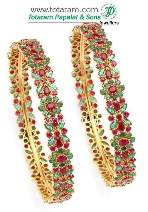 22K Gold Ruby & Emerald Bangles - Set of  2(1 Pair).