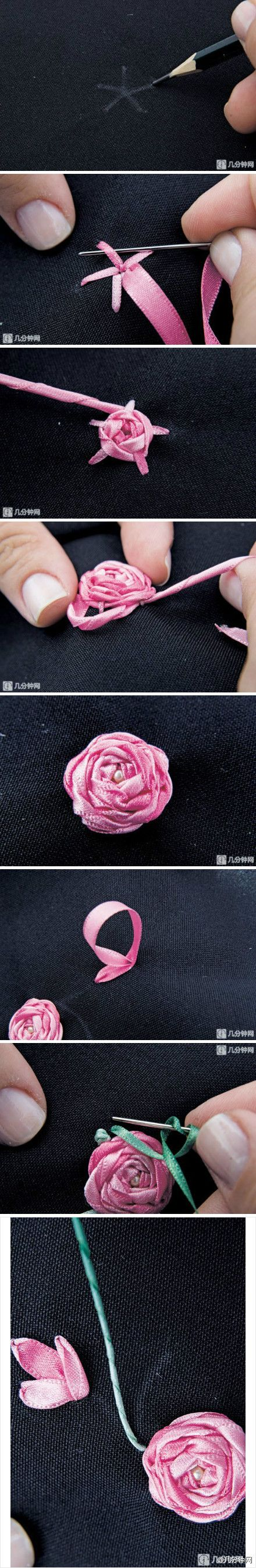 Pentagon roses embroidered handmade ribbon embroidery needle, video tutorial DIY