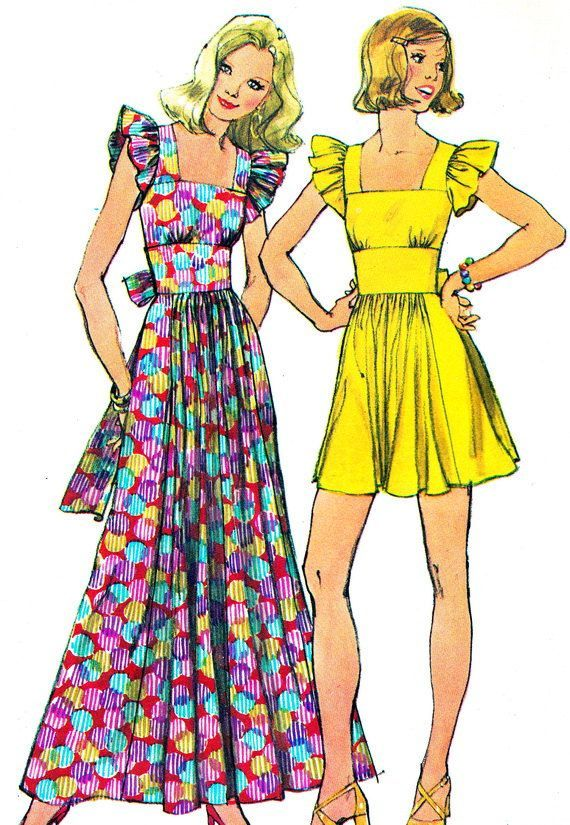 1970s Dress Pattern Simplicity 5670 Womens Boho Maxi or Midi Dress Ruffled Cap Sleeves Wide Waistband Vintage Sewing Pattern Bust 34