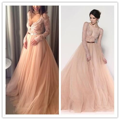 wholesale wedding dresses buy a perfect winter wedding dress blush pink lace tulle v neck floor length long sleeves a line wedding gown with gold