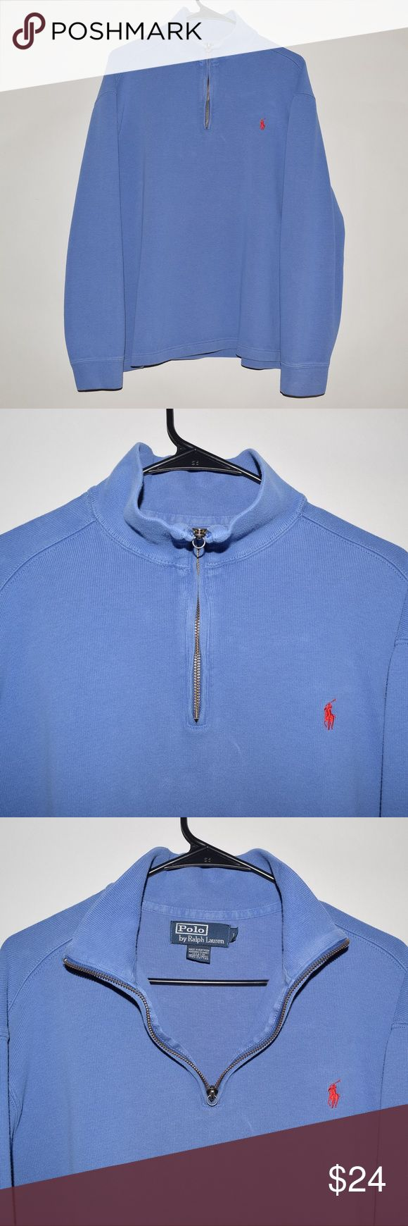 Rare Polo Ralph Lauren Pony Men's Half Zip Sweater Brand: Polo Ralph Lauren Item name: Pony Half Zip Sweater Color: Light Blue Condition: This is a pre-owned item. It is in excellent condition with no holes, rips, etc. Comes from a smoke free household. Size: Large Measurements:  Pit to Pit - 25 inches Neckline to bottom - 26 inches Polo By Ralph Lauren Sweaters