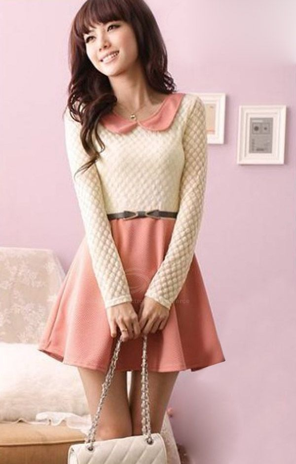 Sweet Style Scoop Neck Lace Splicing Flouncing Hem Long Sleeve Cotton Dress For Women (PINK,ONE SIZE) China Wholesale - Sammydress.com