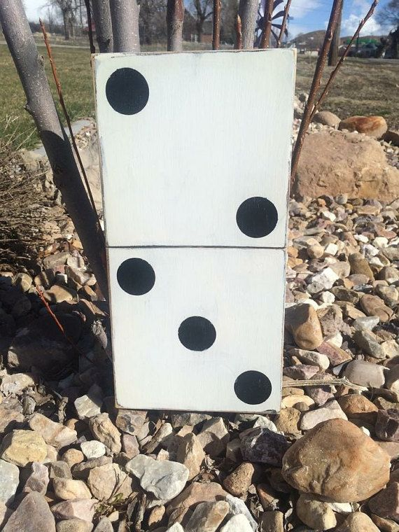 Large Domino White Number 5 Rustic Gallery by HollyBeeandCompany