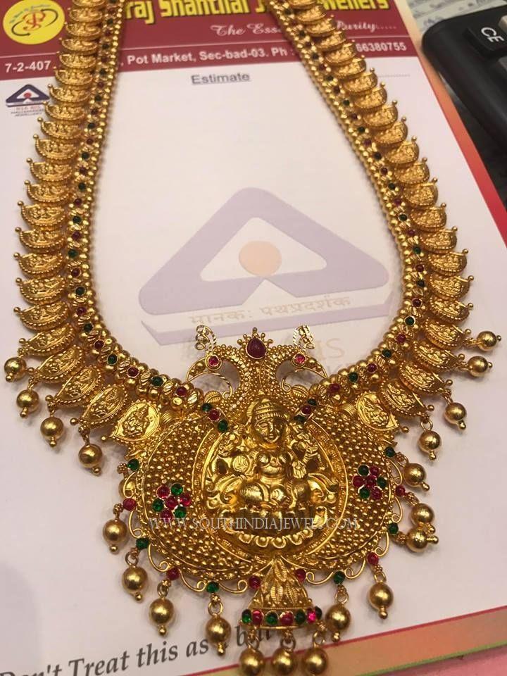 Gold Antique Lakshmi Haram Designs 2017, Latest Model Lakshmi Haar Collections.