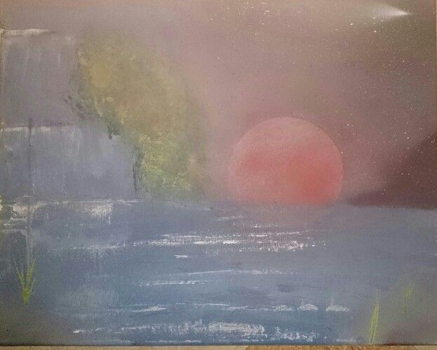 Cascada y rio,pintura a spray sobre lienzo