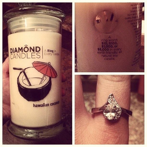 Hawaiian Coconut candles are awesome. What's even better is a candle with a ring hidden inside of a Diamond Candle. Great gift idea, huh?