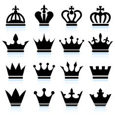 Simple Crowns black and white royalty free vector icon set ...