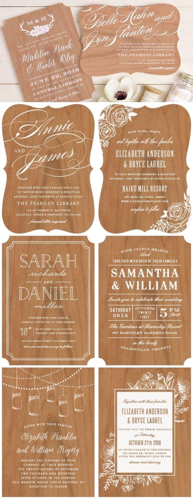basic invite rustic real wood wedding invitations / http://www.deerpearlflowers.com/how-to-create-wedding-invitations-online/