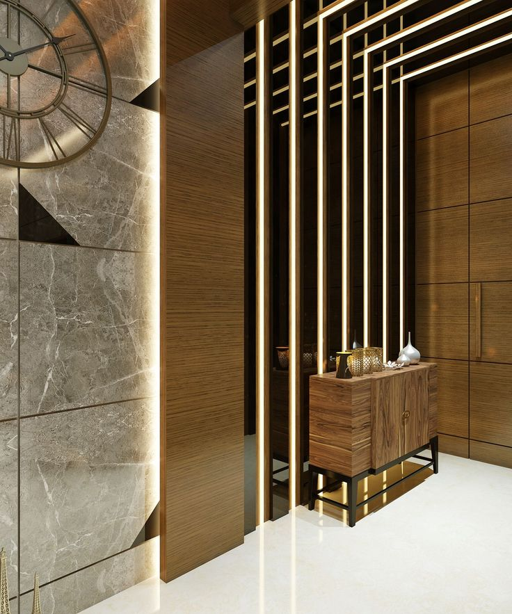 Barano Model Home Interior Design: View Of Entrance Corridor With Wooden Cabinet And