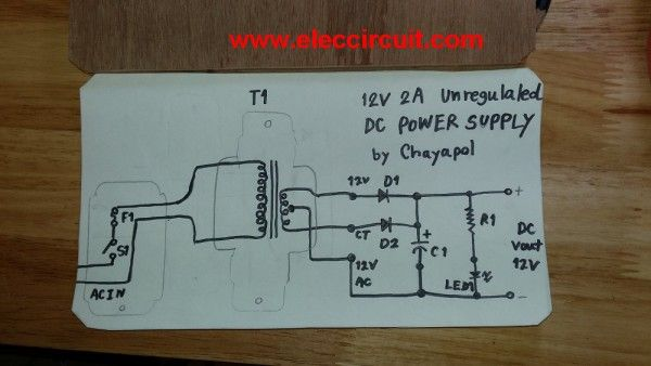 Simple 12v 2a Power Supply Circuit Eleccircuit Com Power Supply Power Supply