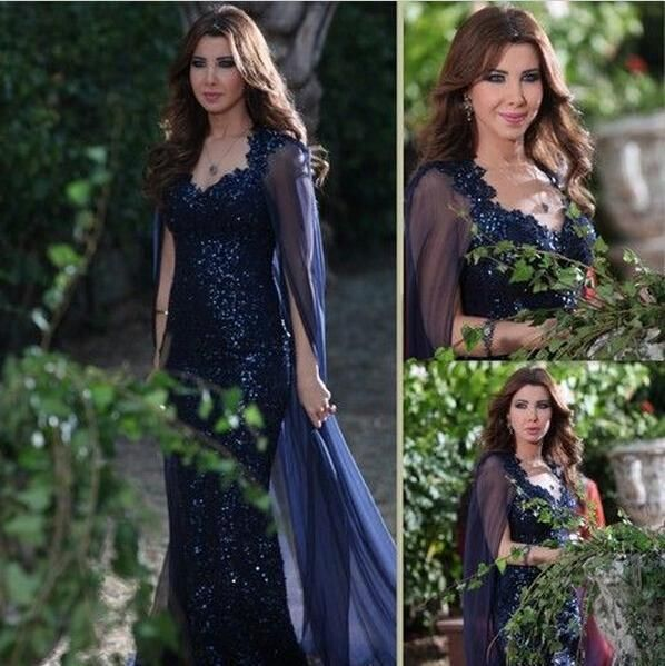 Nancy Ajram Navy Celebrity Evening Dresses 2016 Sequined Lace Sheath Prom Gowns With Shawl V Neck Open Back Long Formal Party Dress Online with $209.72/Piece on Angelia0223's Store | DHgate.com