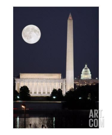 DC Sklyline at full moon night Photographic Print by William Luo at Art.com