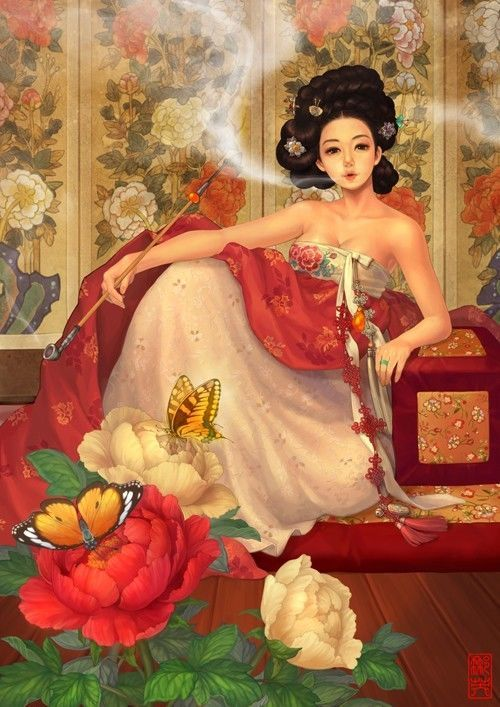 Oriental Painting Jigsaw Puzzle 'Mu Dan Flower Woman' 2000 Pc Made In Korea #PuzzleLife