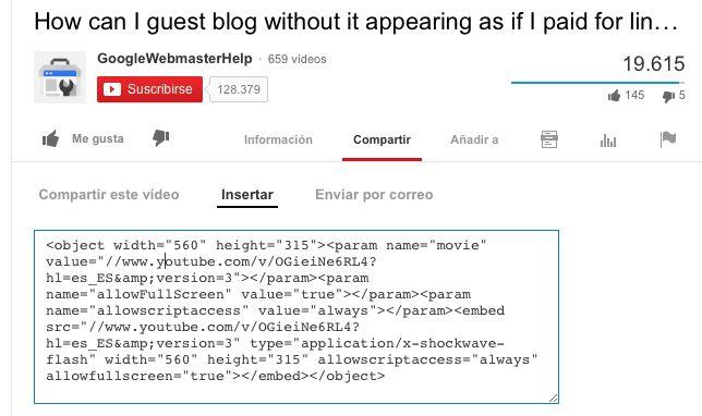 insertar video de youtube | Web | Pinterest | Google y Youtube