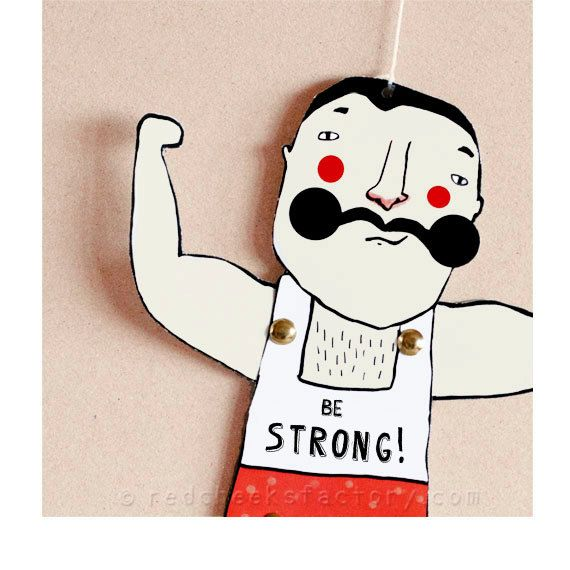 DIY Kraftprotz Paper Doll - DIY-Postkarte - Papier Marionette - starker Mann - Schnurrbart - macht Grußkarte - Zirkus Postkarte