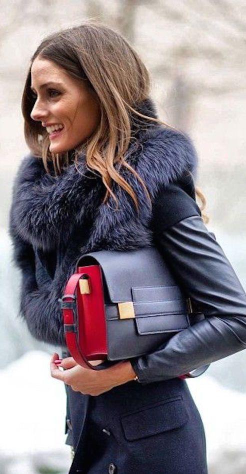 Olivia Palermo, Azul cobalto y rojo..una buena combinación