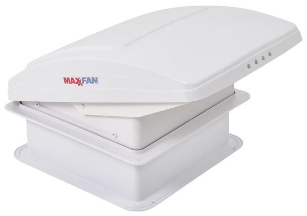 Maxxair 00 05301k Maxxfan Deluxe Rv 12v Roof Vent White Manual Opening Ceiling Controls Roof Vents White Ceiling Plumbing Drawing