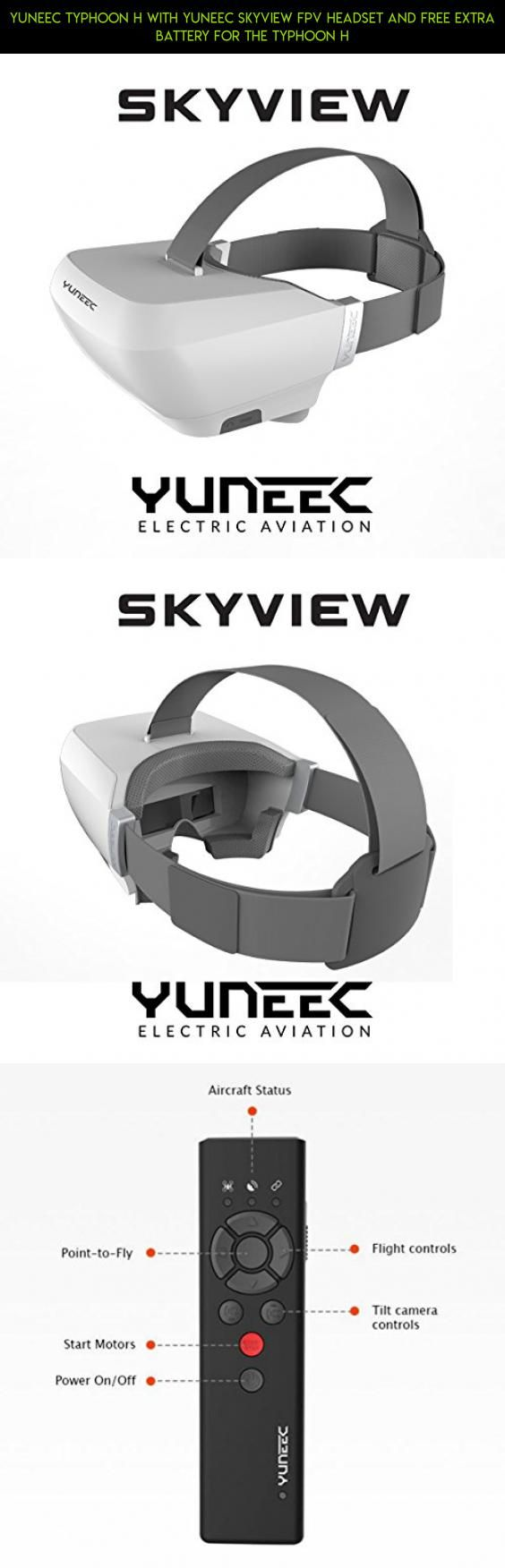 Yuneec Typhoon H with Yuneec Skyview FPV Headset and FREE extra battery for the Typhoon H #battery #tech #camera #parts #lipo #plans #shopping #drone #fpv #kit #technology #products #racing #gadgets #yuneec