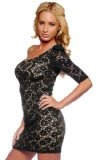 Womens One Shoulder Sleeve Crochet Lace Cocktail Casual Mini Dress