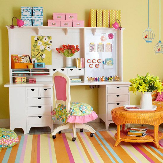 I love the girly space: Crafts Area, Offices, Crafts Spaces, Colors, Crafts Room, Girls Room, Room Ideas, Desks, Craft Rooms