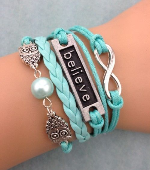 Believe Tag with Owls & Infinity Fashion Bracelet ,diy cheap fashion leather bracelet,handmade bracelet shop at www.costwe.com