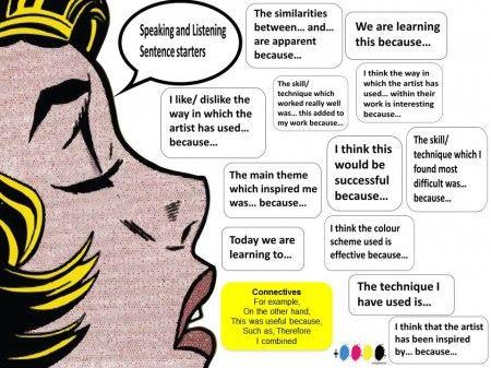 sentence starters, art literacy