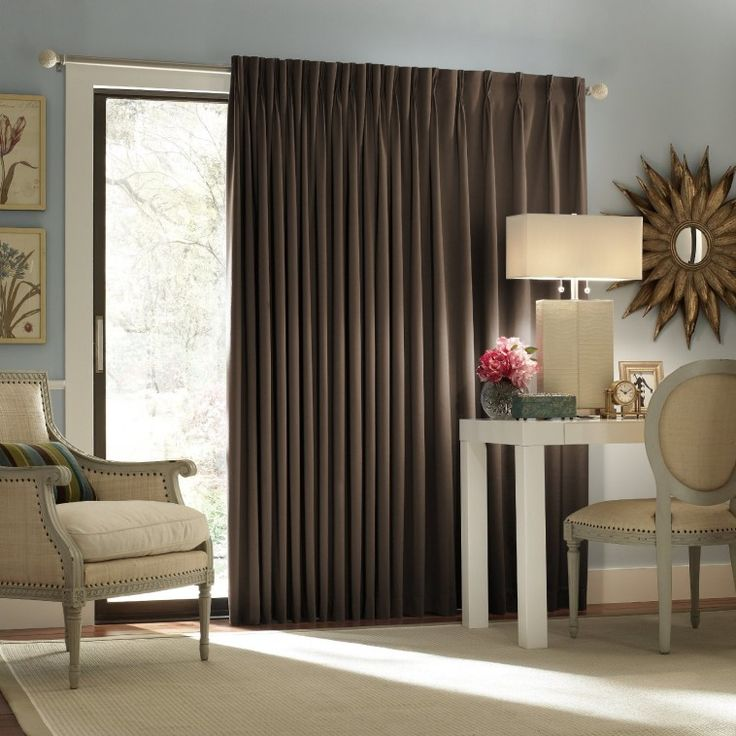 Dark Brown Fabric Thermal Curtain Combined With Contemporary Shaded Table  Lamp With Insulated Drapes For Sliding · Sliding Door CurtainsPatio ...