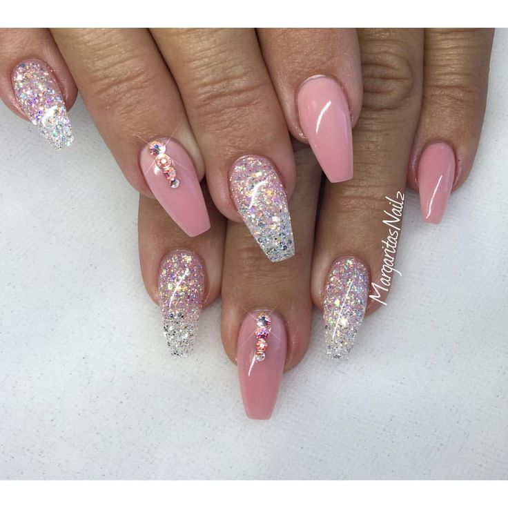 Nude pink and glitter Spring nails