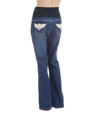 Look what I found on #zulily! Dark Wash Over-Belly Panel Embroidered Maternity Jeans #zulilyfinds