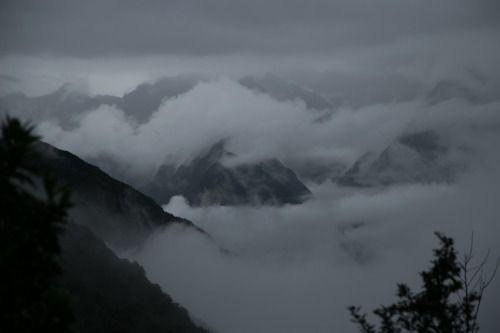 mountains in clouds - inka trail, peru