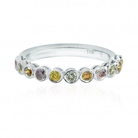 11 Stone Multicolored Diamond Stackable Bezel Band Ring