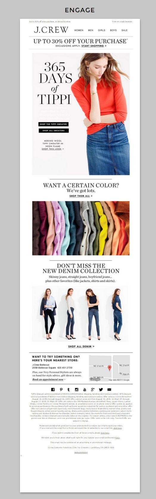 """J. Crew   J.Crew does an awesome job of appealing to both online and in-store shoppers with their prominent store locator at the bottom of this email. From the messaging """"Want to try something on?"""" to the dynamic Google map, this is a store locator done right.   Kait Buck, Marketing Specialist"""