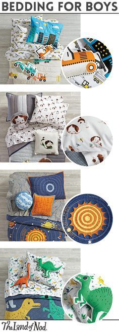 Need to design a boy's bedroom? Create a fun and inviting themed bedroom with boys bedding sets from The Land of Nod. From construction and outer space bedding to dinosaur and nautical bedding, there's surely a style that'll spark your bedroom inspiration. Don't forget our amazing lineup of animal-print bedding, too. Plus, all of our sheets are made from the finest 100% cotton (meaning your little ones will love to snuggle into super-soft comfort.